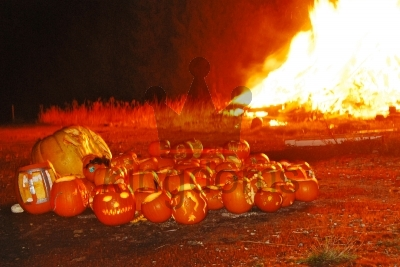 Pumpkins By Bonfire