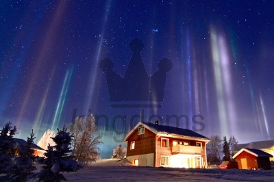 Northern Lights Over Cabin