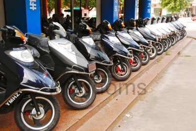 Line Of Mopeds