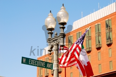 USA Lamppost And Flag